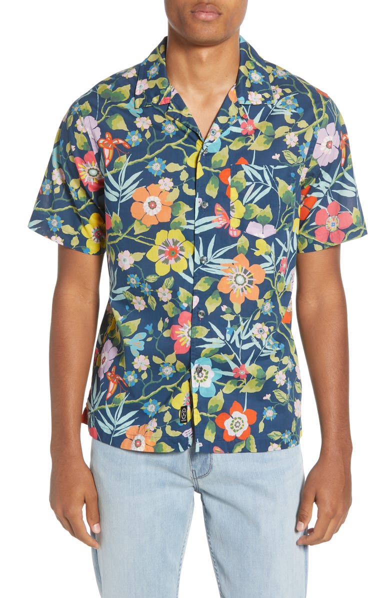 TODD SNYDER Liberty Oversize Tropical Print Camp Shirt, Main, color, 400