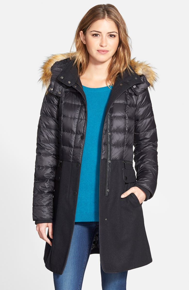 1 MADISON Quilted Down & Wool Blend Coat with Faux Fur Trim, Main, color, 001
