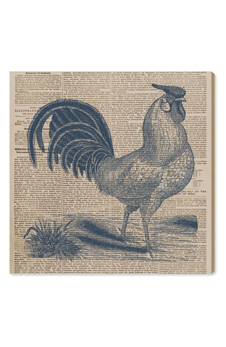 OLIVER GAL Rooster Newspaper Canvas Wall Art, Main, color, 400