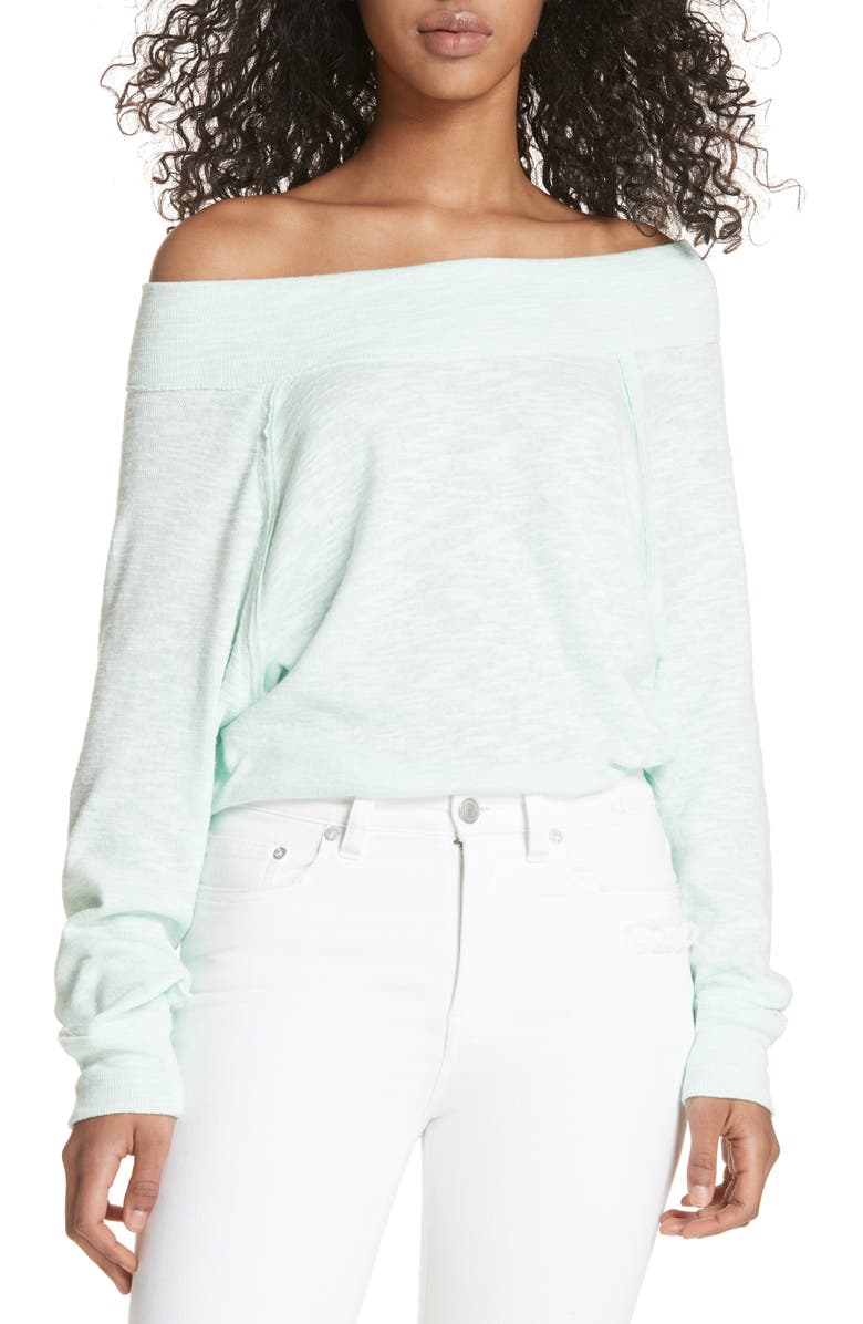 FREE PEOPLE Palisades Off the Shoulder Top, Main, color, MINT