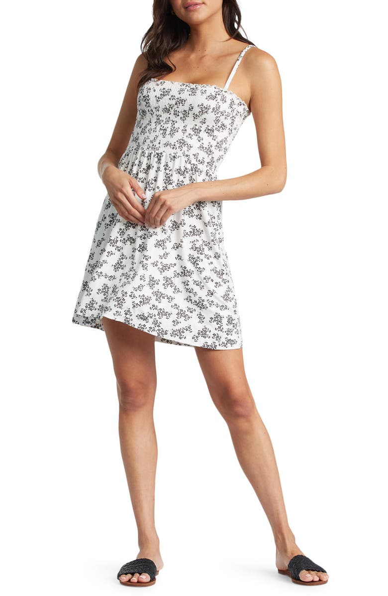 ROXY Straight to Summer Party Floral Sundress, Main, color, SNOW WHITE PATCHFIELD MICRO