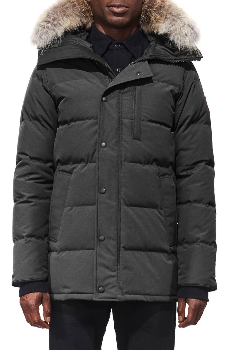 CANADA GOOSE 'Carson' Slim Fit Hooded Parka with Genuine Coyote Fur Trim, Main, color, GRAPHITE