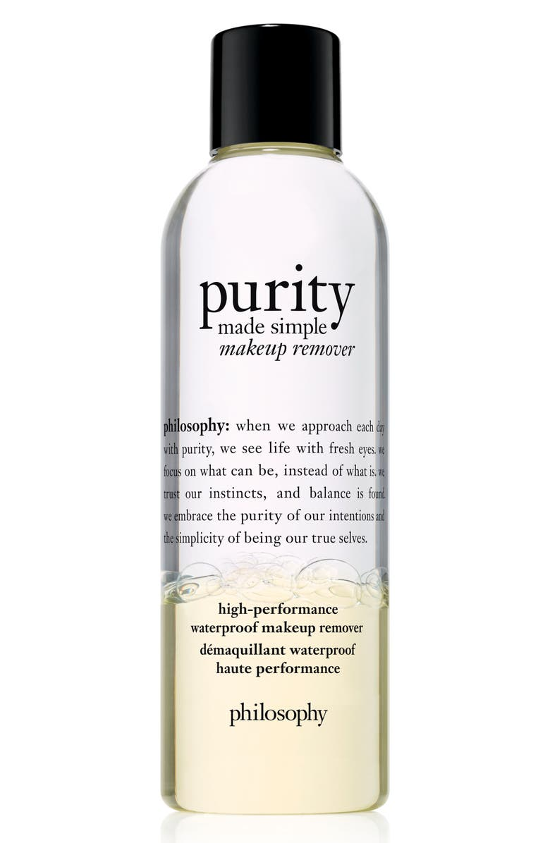 PHILOSOPHY purity made simple high-performance waterproof makeup remover, Main, color, 000