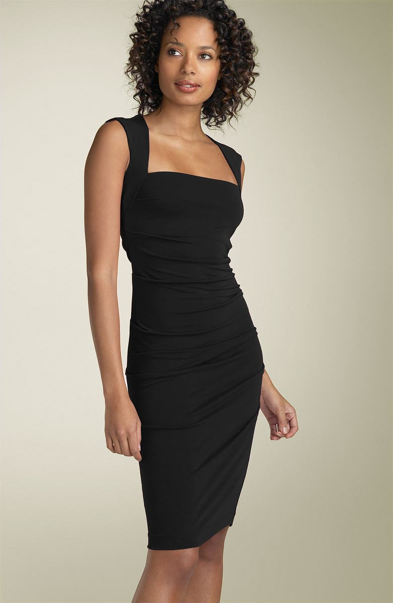 NICOLE MILLER Open Back Jersey Sheath Dress, Main, color, 001