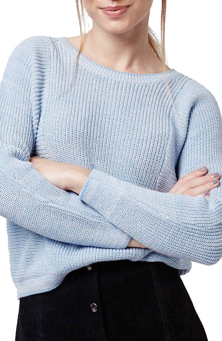 TOPSHOP Ribbed Crop Sweater, Main, color, LIGHT BLUE