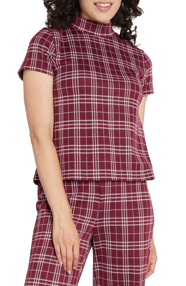 MODCLOTH Plaid Mock Neck Boxy Top, Main, color, 510