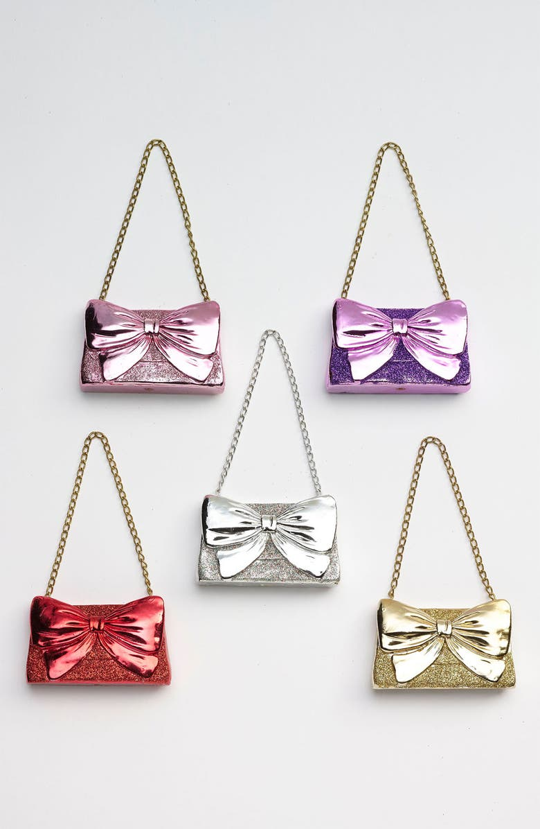 NORDSTROM at Home 'Glitter Bow Clutch' Ornament, Main, color, 040