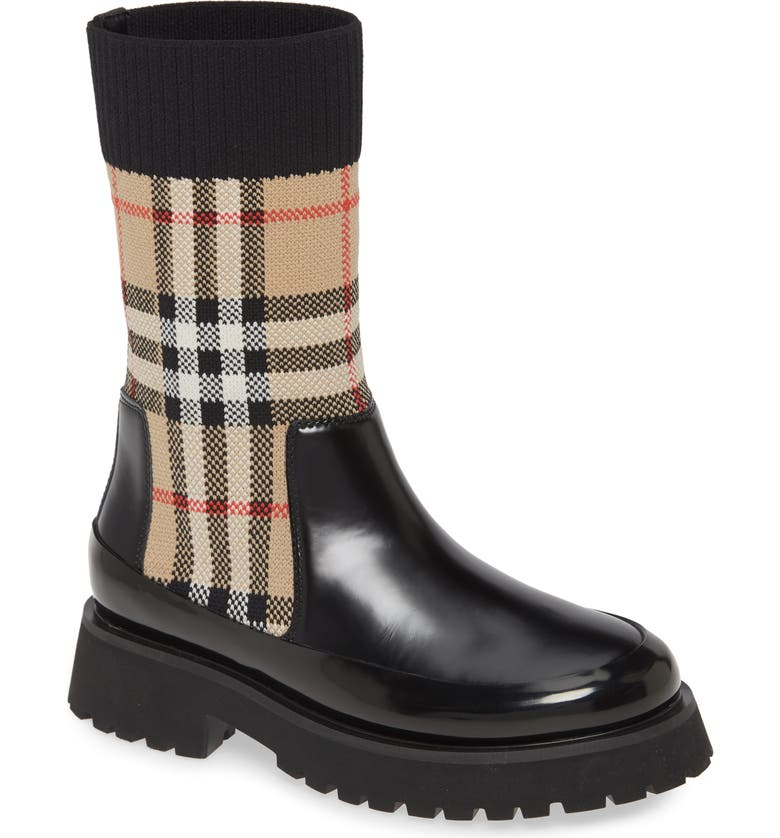 BURBERRY Sock Knit Chelsea Boot, Main, color, 001