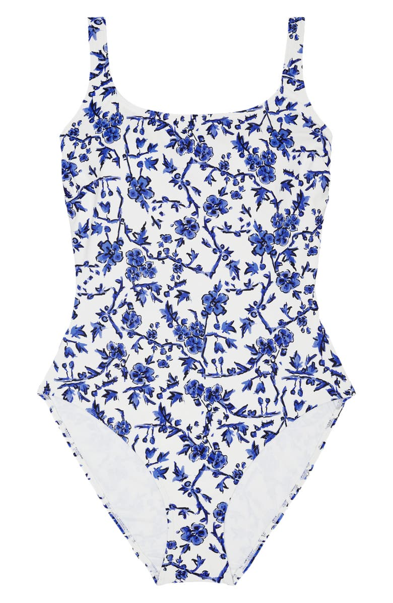 TORY BURCH Broken Logo Colorblock One-Piece Tank Swimsuit, Main, color, BLUE BRANCHES