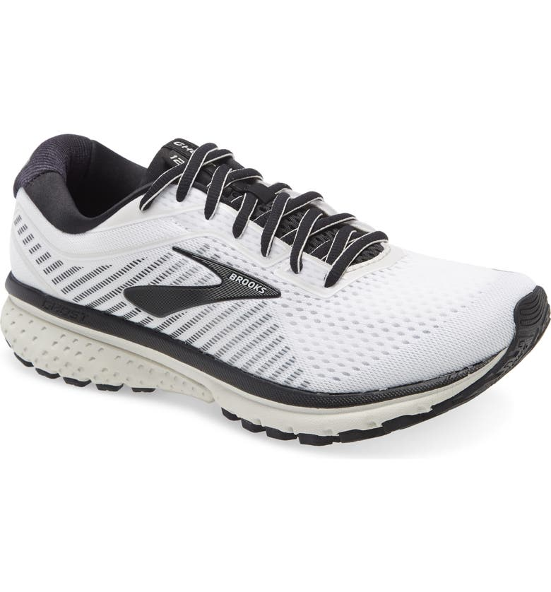 BROOKS Ghost 12 Running Shoe, Main, color, WHITE/ GREY/ BLACK