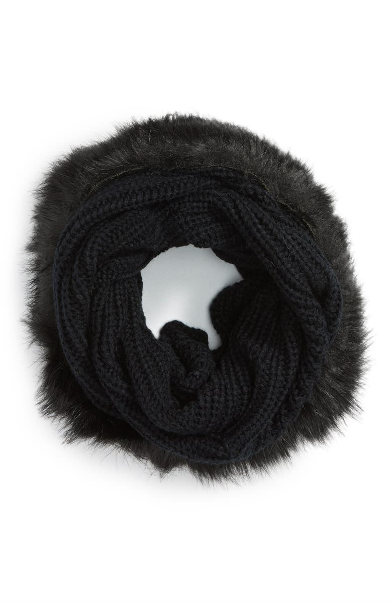 EVELYN K Faux Fur Trim Infinity Scarf, Main, color, 001
