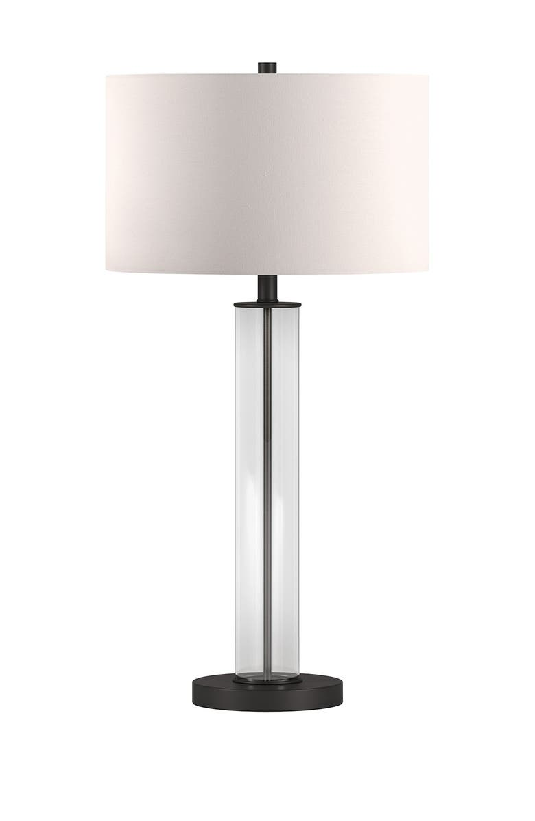 ADDISON AND LANE Harlow Clear Glass and Blackened Bronze Table Lamp, Main, color, CLEAR/BLACK