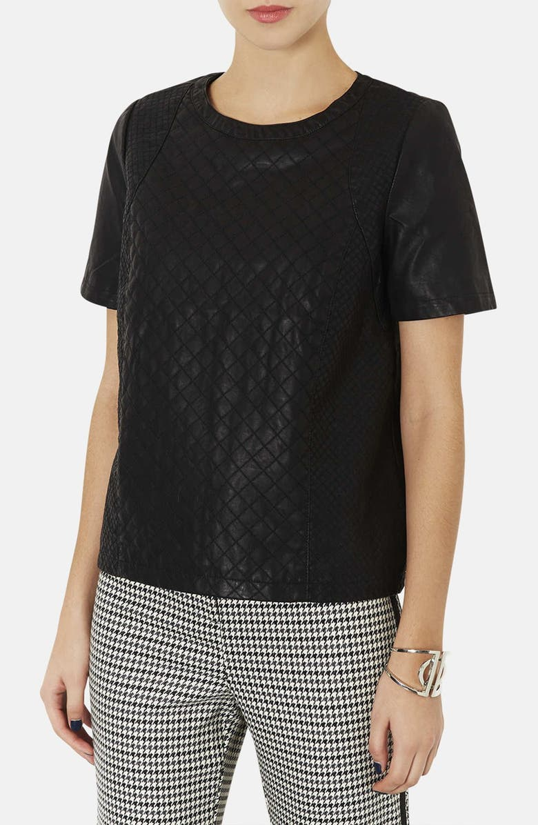 TOPSHOP Quilted Faux Leather Tee, Main, color, Black