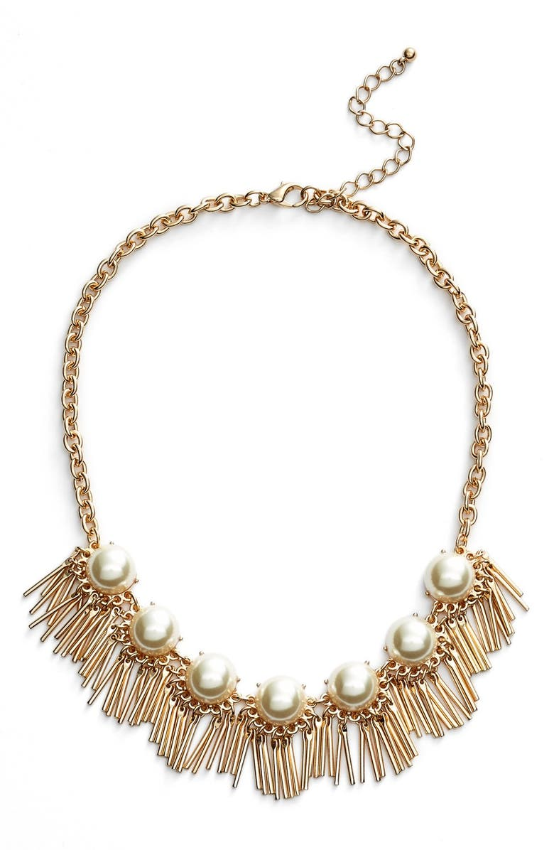 BP. Faux Pearl Fringe Statement Necklace, Main, color, IVORY/ GOLD