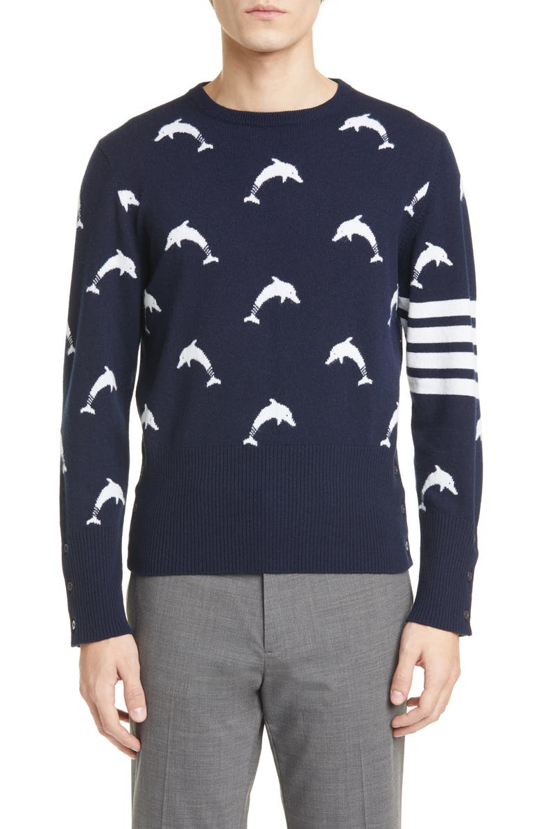 THOM BROWNE Dolphin Cashmere Sweater, Main, color, 410
