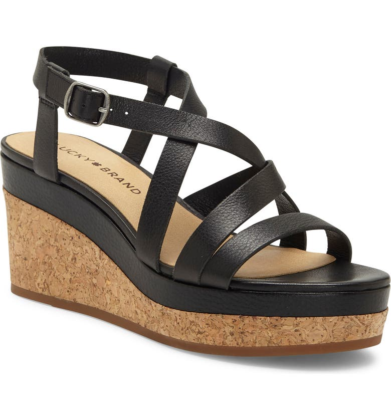 LUCKY BRAND Batikah Strappy Wedge Sandal, Main, color, 001