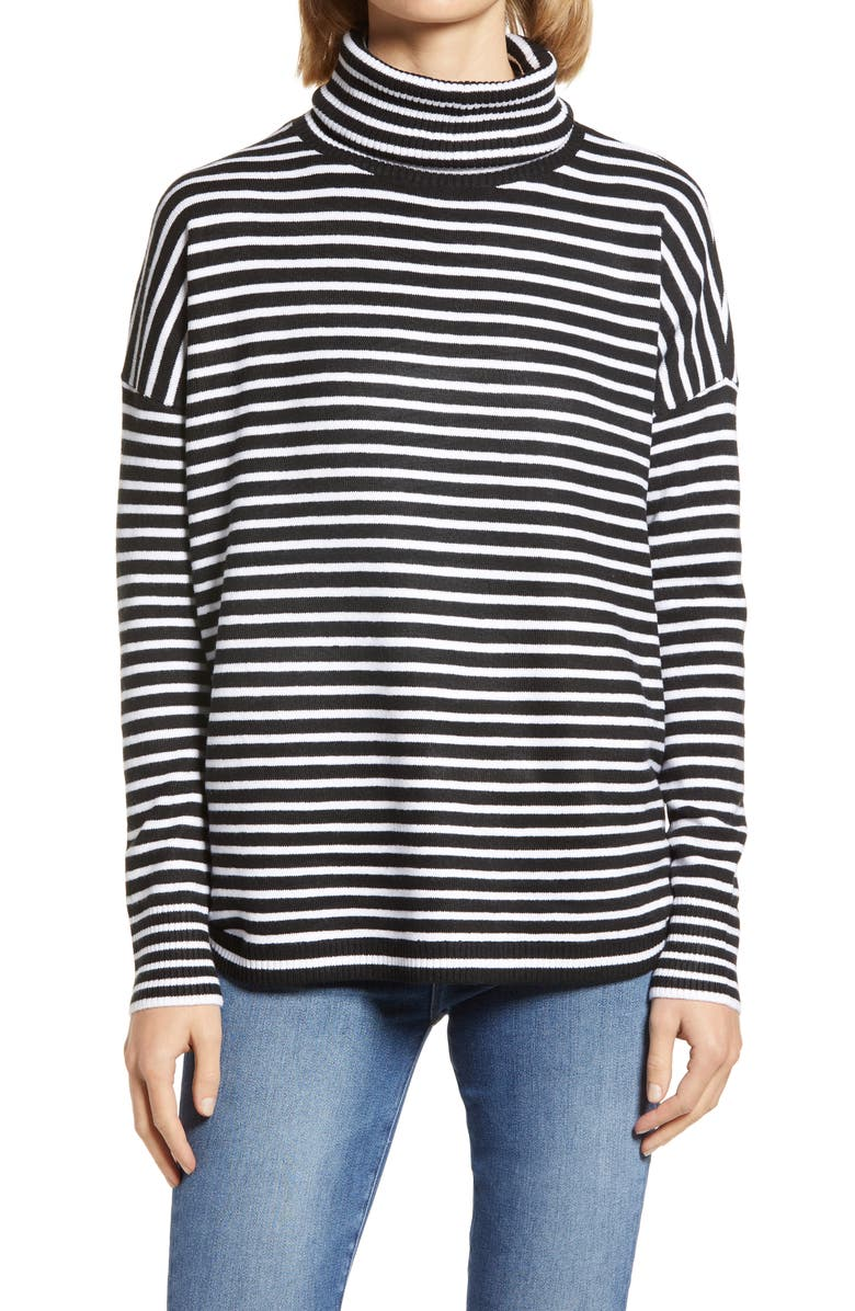 FRENCH CONNECTION Women's Babysoft Stripe Turtleneck Top, Main, color, BLACK/ WINTER WHITE