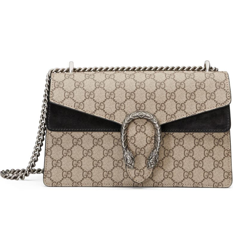 GUCCI Small Canvas & Suede Shoulder Bag, Main, color, BEIGE EBONY/NERO