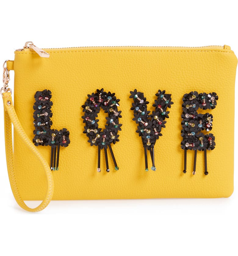 SONDRA ROBERTS Love Embellished Faux Leather Wristlet, Main, color, Yellow