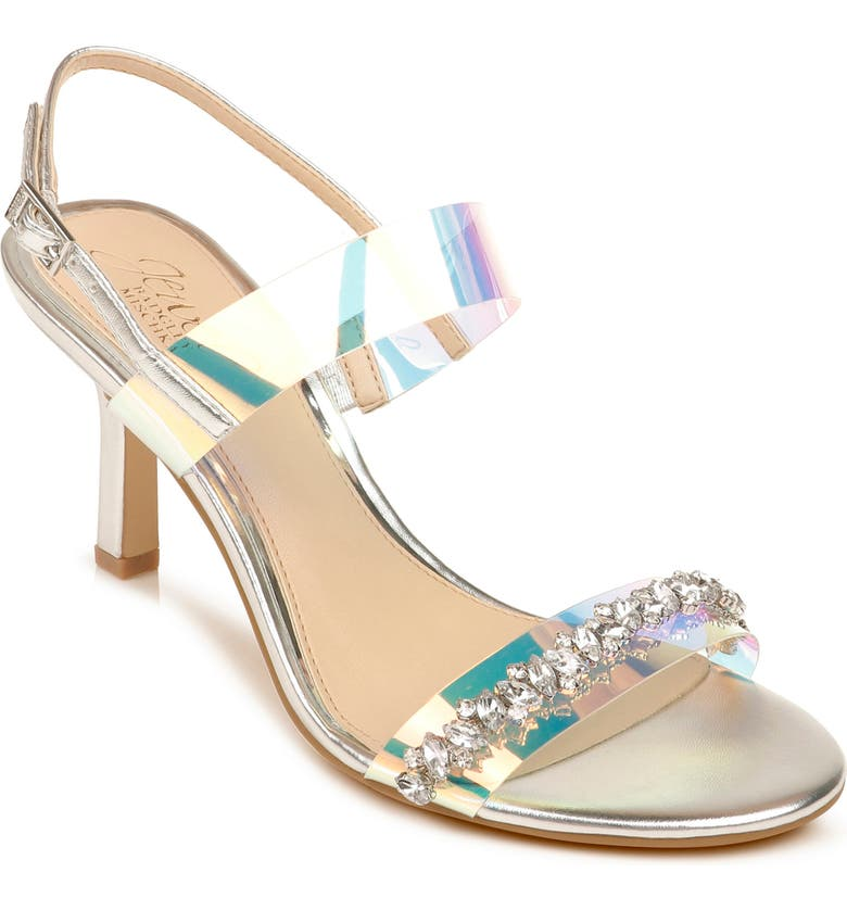 JEWEL BADGLEY MISCHKA Fairwell Crystal Clear Strap Sandal, Main, color, SILVER FAUX LEATHER
