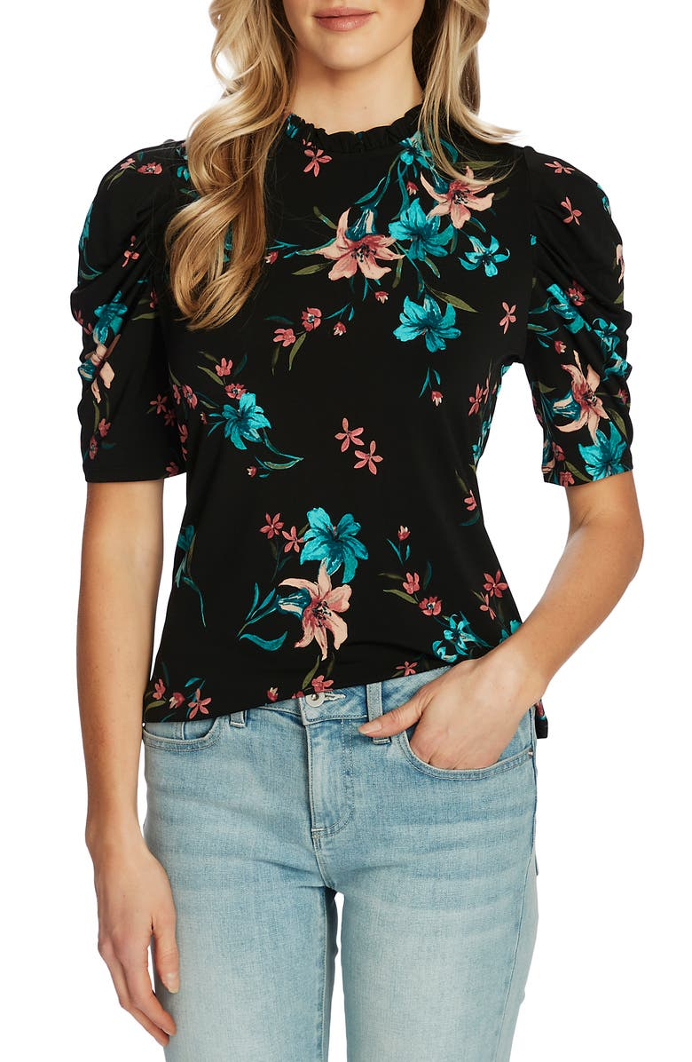 CECE Expressive Lillies Puff Sleeve Top, Main, color, 001