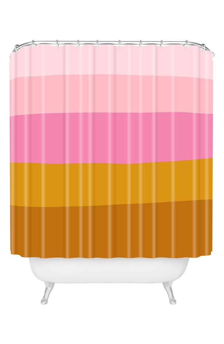 DENY DESIGNS June Journal Retro Shower Curtain, Main, color, PINK/ ORANGE