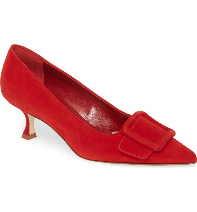 MANOLO BLAHNIK Maysale Buckle Pointed Toe Pump, Main, color, RED