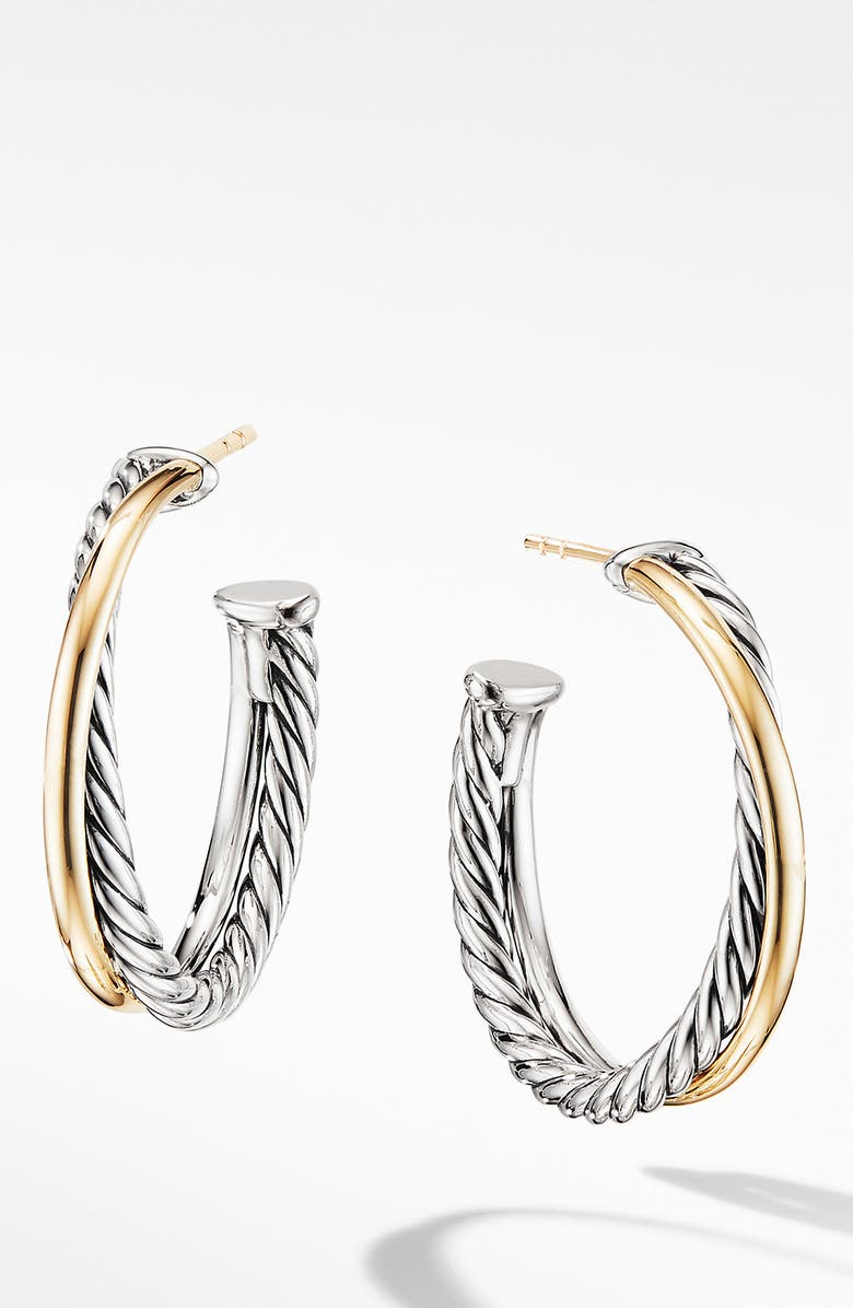 DAVID YURMAN Crossover Medium Hoop Earrings with 18K Yellow Gold, Main, color, SILVER/ GOLD