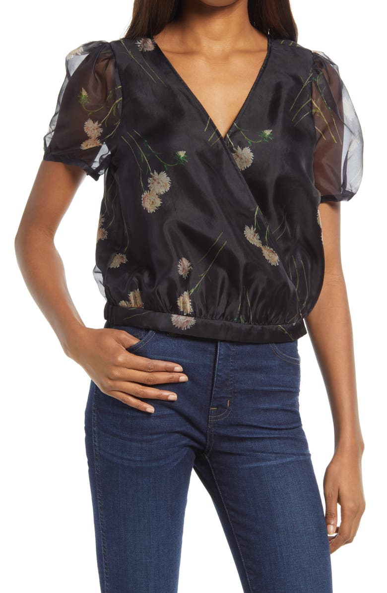 MADEWELL Aster Portrait Silk Organza Puff Sleeve Wrap Top, Main, color, 016