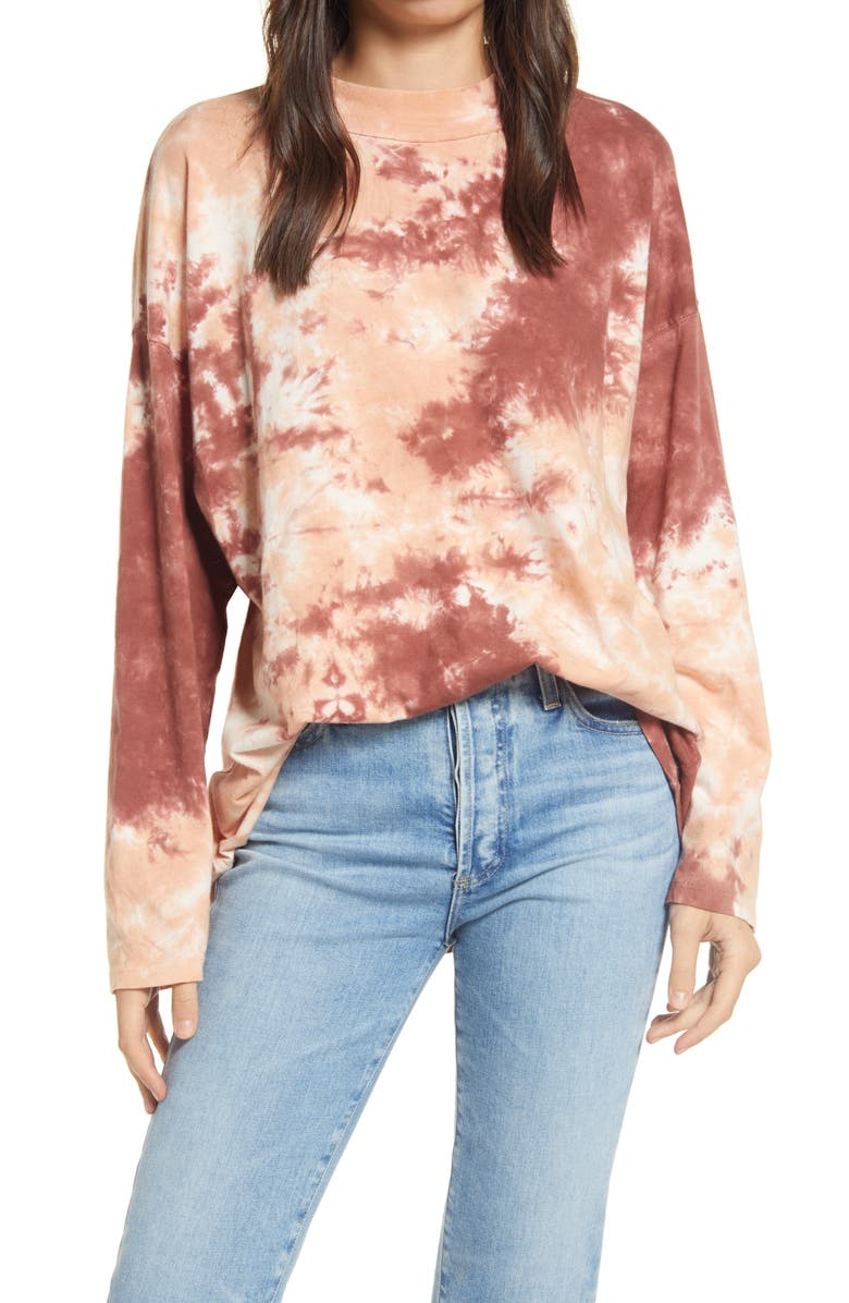 FREE PEOPLE Be Free Tie Dye Oversize Long Sleeve T-Shirt, Main, color, CABARNET COMBO