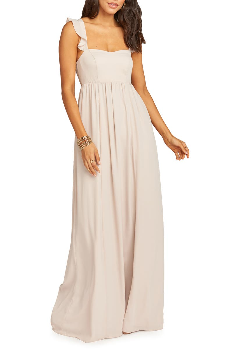SHOW ME YOUR MUMU June Ruffle Strap A-Line Gown, Main, color, 250