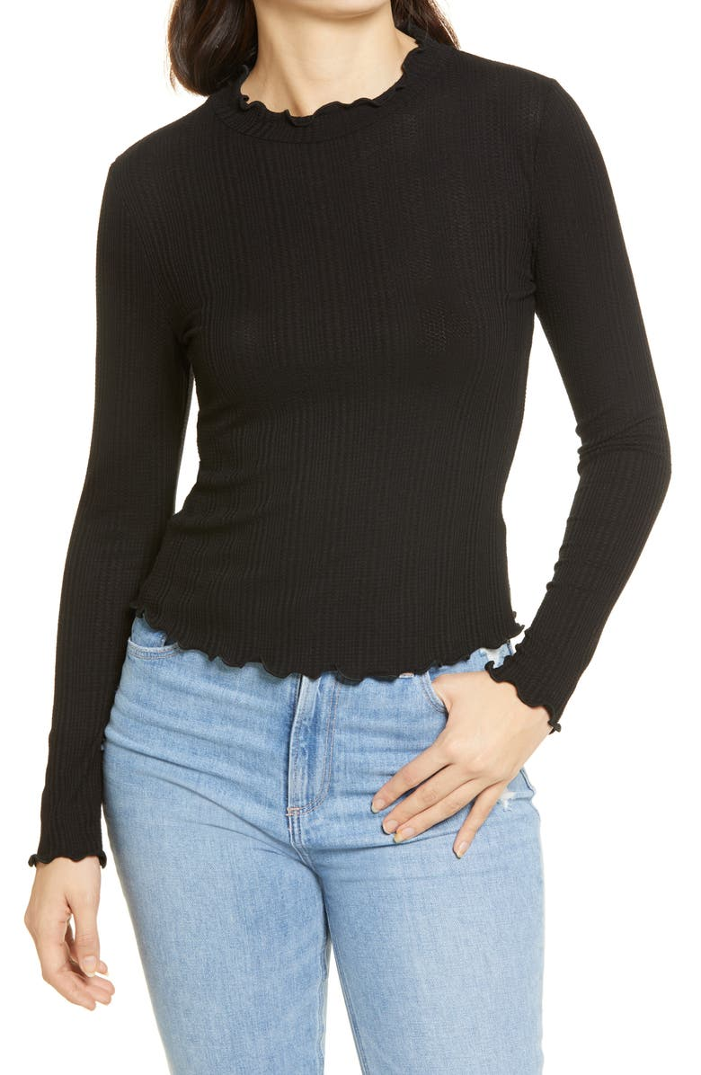 ALL IN FAVOR Lettuce Edge Rib Top, Main, color, BLACK