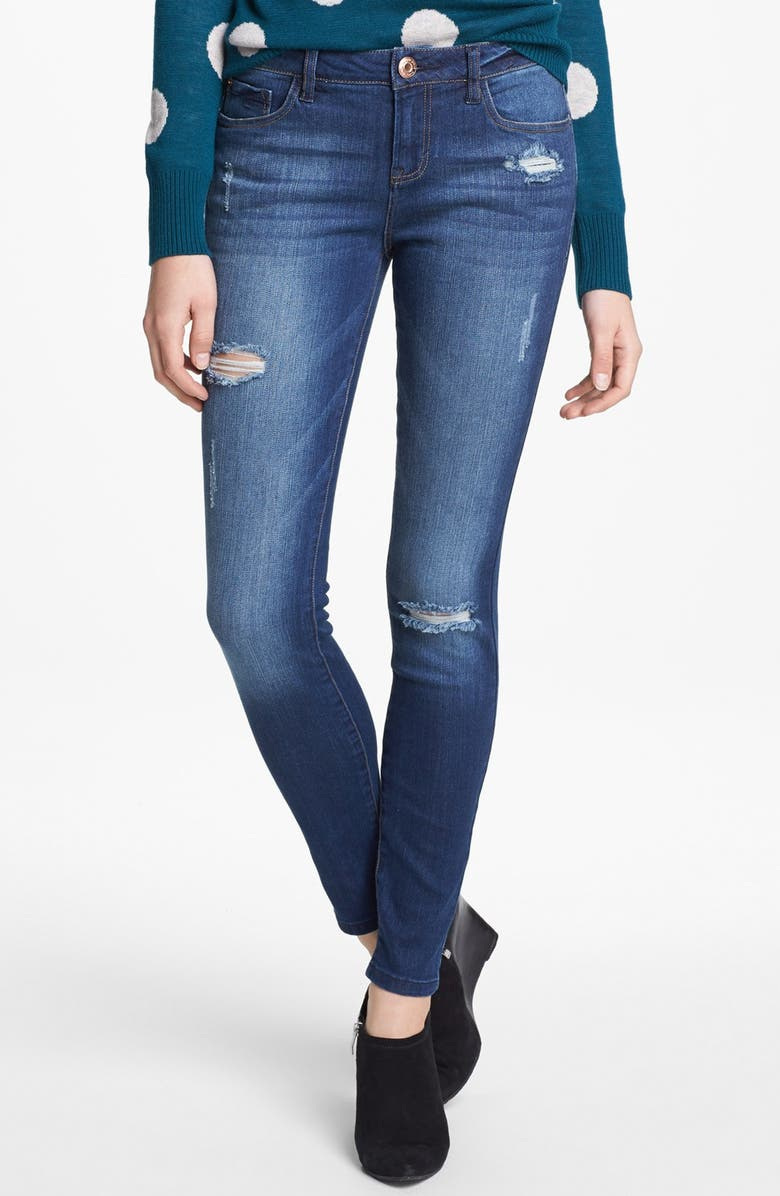 KENSIE Destroyed Skinny Jeans, Main, color, ELECTRIC YOUTH