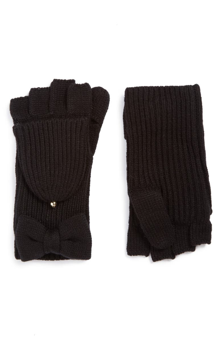 KATE SPADE NEW YORK bow convertible mittens, Main, color, 001
