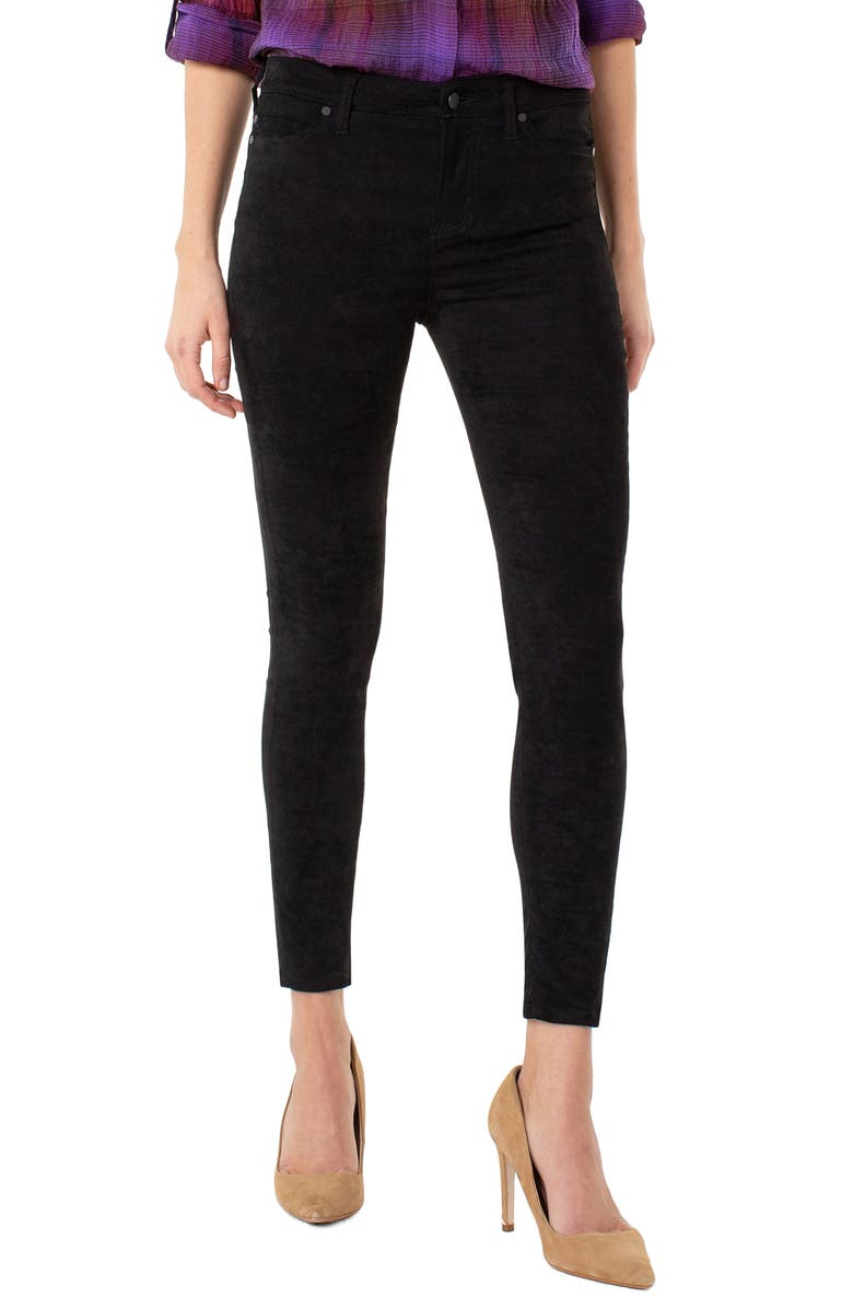 LIVERPOOL Abby Faux Suede Stretch Skinny Jeans, Main, color, BLACK