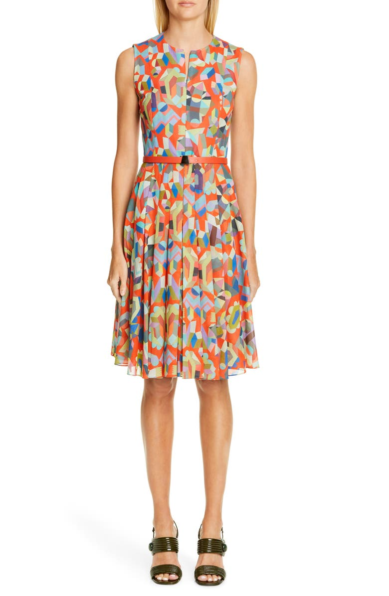AKRIS Summer Print Cotton Voile Dress, Main, color, 800