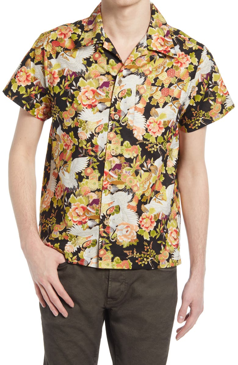 NAKED & FAMOUS DENIM Naked & Famous Aloha Floral Short Sleeve Button-Up Camp Shirt, Main, color, BLACK