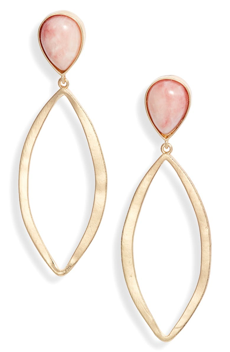 HALOGEN<SUP>®</SUP> Semiprecious Stone & Open Marquise Drop Earrings, Main, color, BLUSH- GOLD