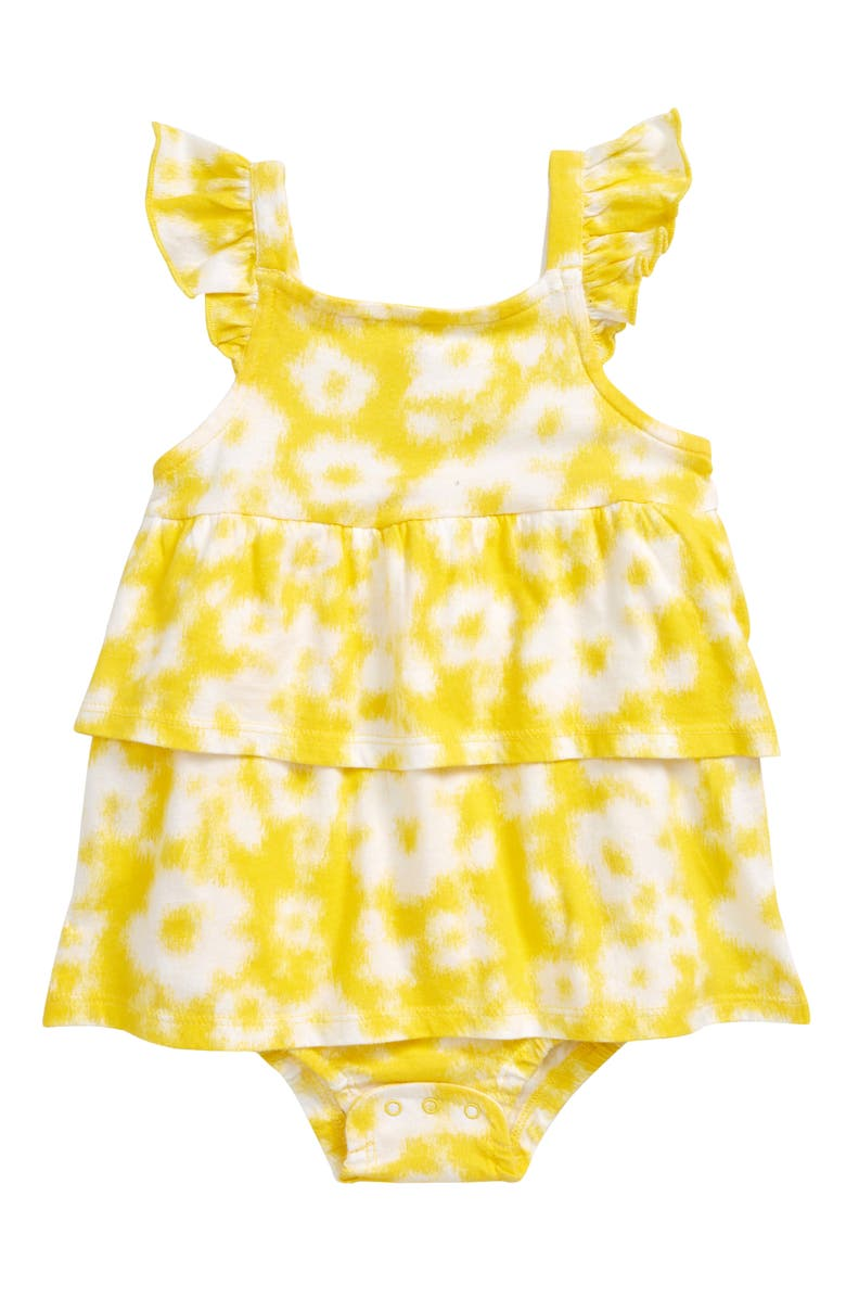 TUCKER + TATE Floral Ruffle Romper, Main, color, YELLOW VIBRANT IKAT FLORAL