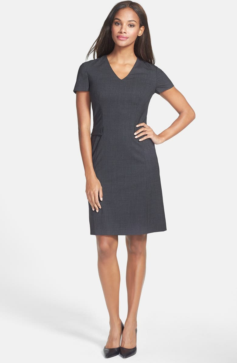 BOSS 'Dilina' Stretch Wool Suiting Sheath Dress, Main, color, GREY