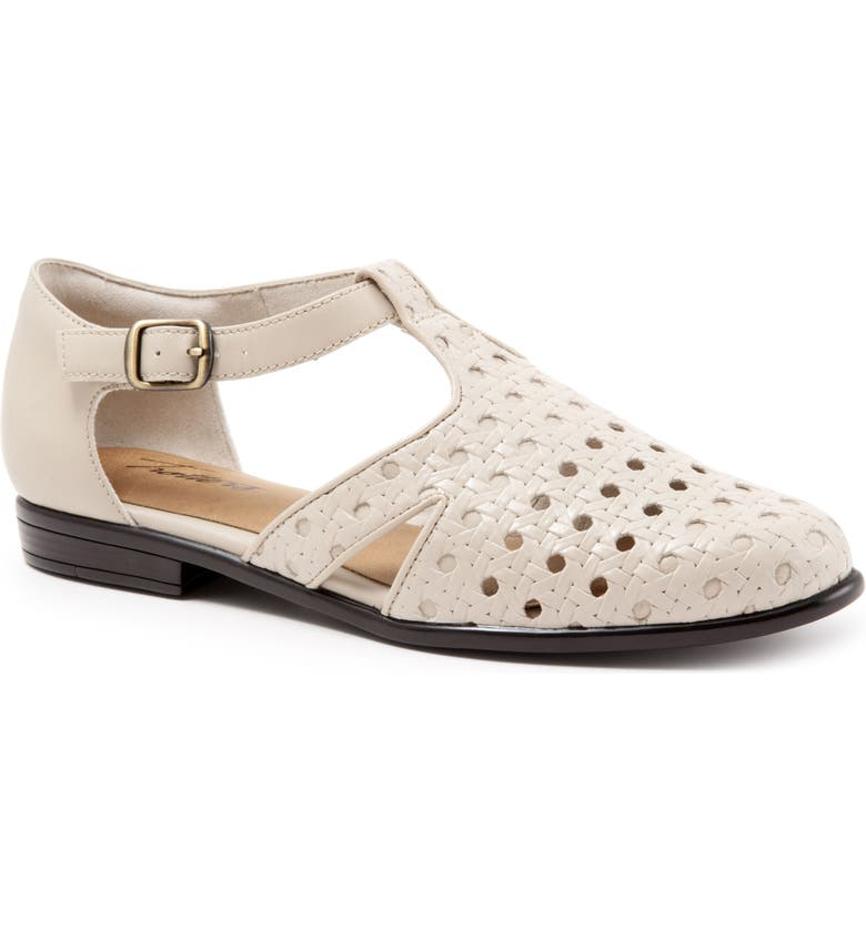 TROTTERS Leatha Open Weave Skimmer Flat, Main, color, BONE LEATHER