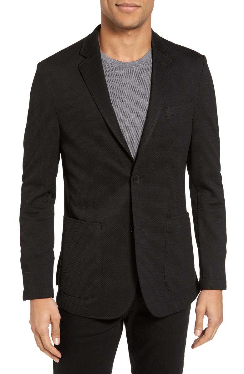 VINCE CAMUTO Slim Fit Stretch Knit Sport Coat, Main, color, 001