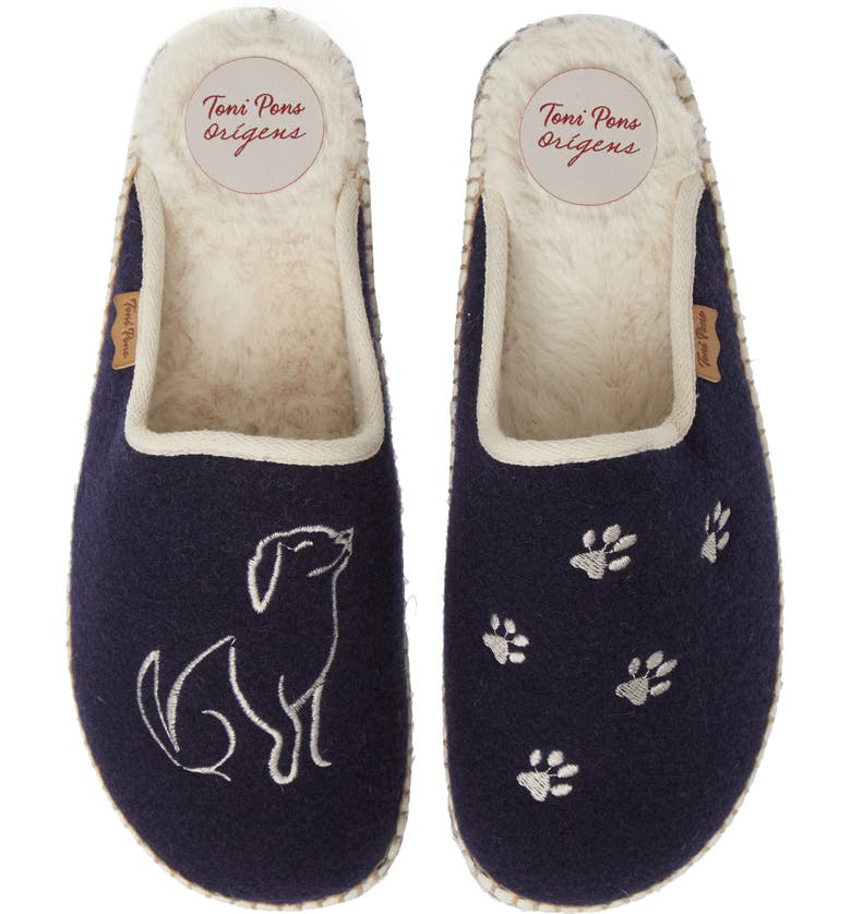 TONI PONS Mysen Faux Fur Lined Espadrille Slipper, Main, color, NAVY DOG FABRIC