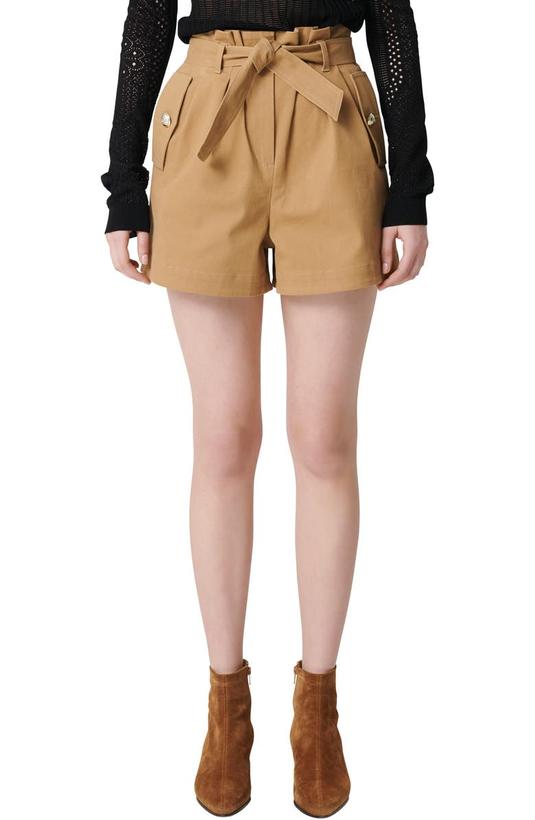 MAJE Ipure Belted Shorts, Main, color, 250