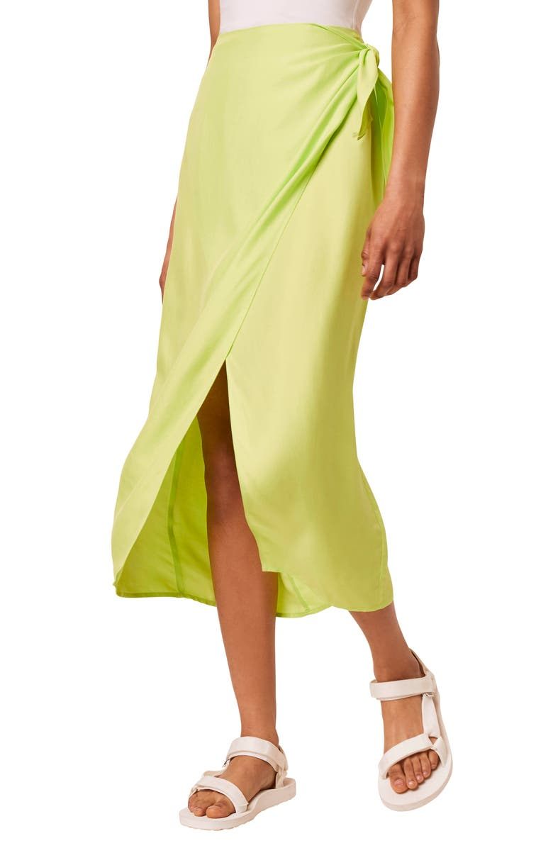 FRENCH CONNECTION Gabina Drape Skirt, Main, color, LIME PUNCH