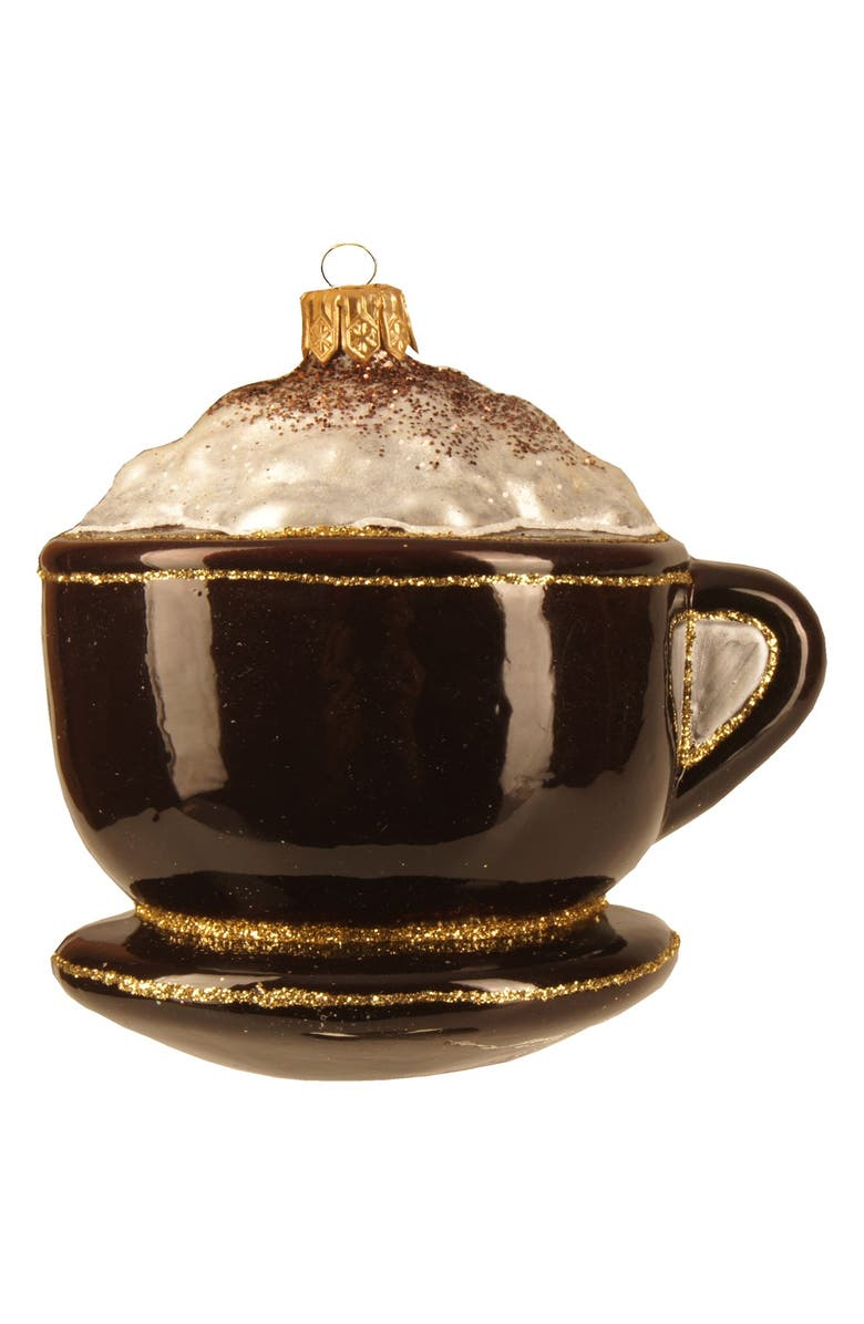 NORDSTROM at Home 'Coffee Cup' Handblown Glass Ornament, Main, color, 201