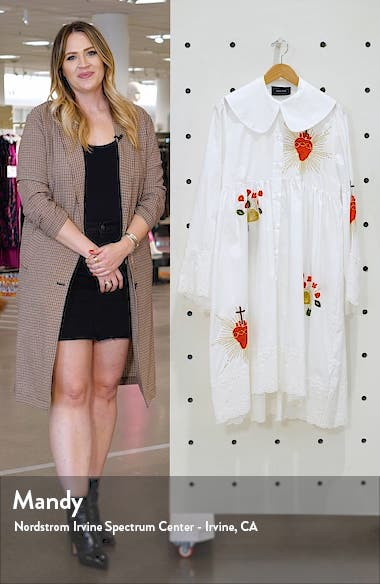 Embroidered Long Sleeve Cotton Dress, sales video thumbnail