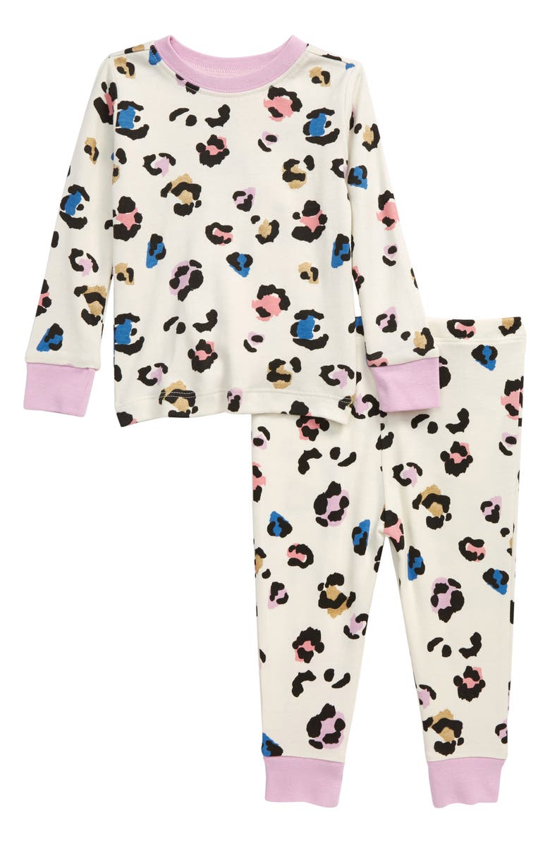 TUCKER + TATE Fitted Two-Piece Pajamas, Main, color, IVORY EGRET MULTI SPOTS