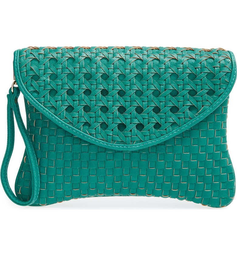 SOLE SOCIETY 'Averie' Woven Faux Leather Clutch, Main, color, 440
