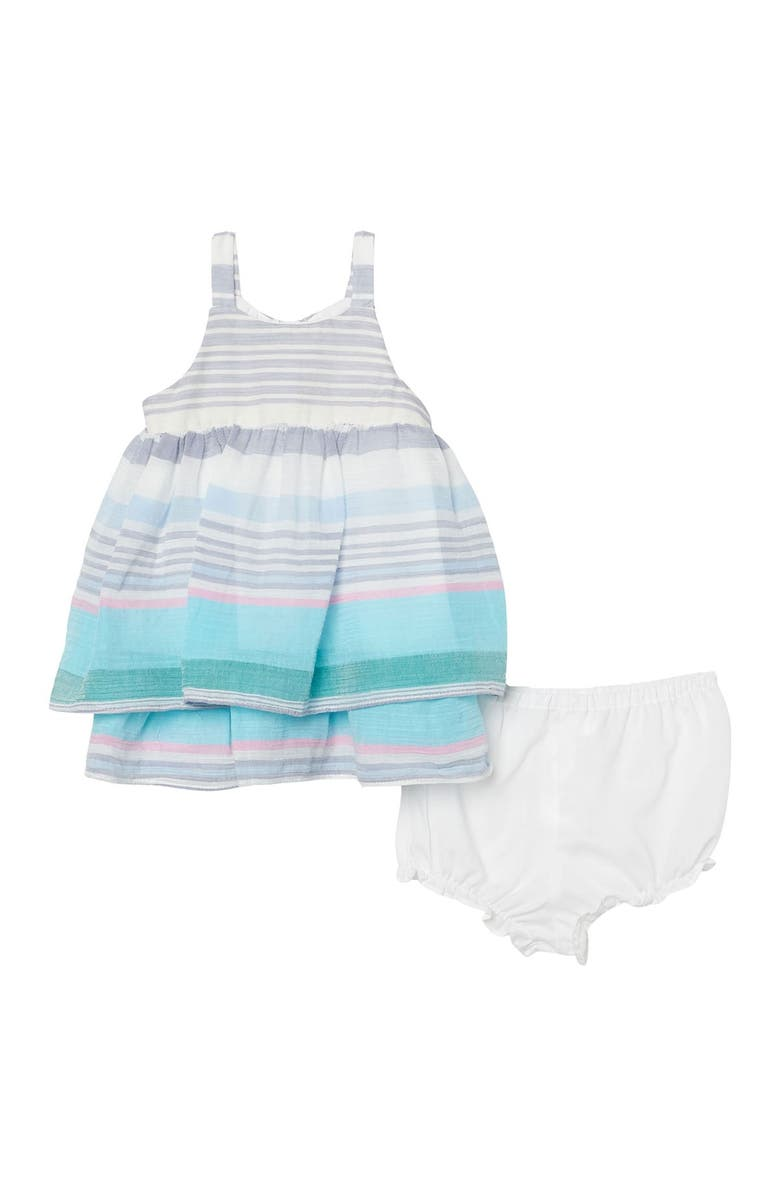 PIPPA AND JULIE Stripe Tiered Dress, Main, color, BLUE
